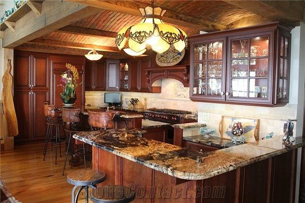 Magma Gold Granite Residential Kitchen Countertop From