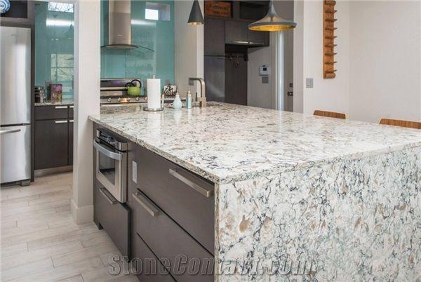 Antique Quartz Stone Slab For Dining Table Top Peninsula Countertop