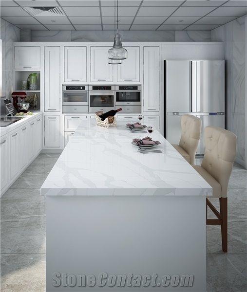 Artificial Marble Quartz Stone Countertops Non Porous Surface