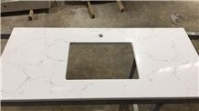 Carrara White Quartz Stone Bath Tops with Various Edge Profiles