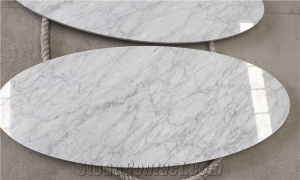 Well-known Ellipse Table Top, Bianco Carrara White Marble Table Top from  IK07