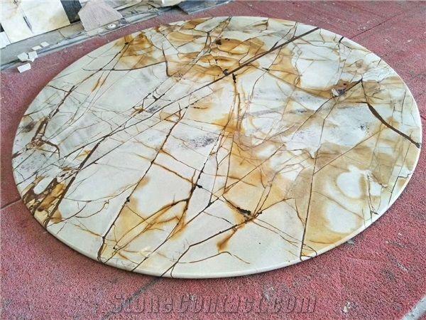 Natural Quartzite Stone Table Top,Round Stone Top