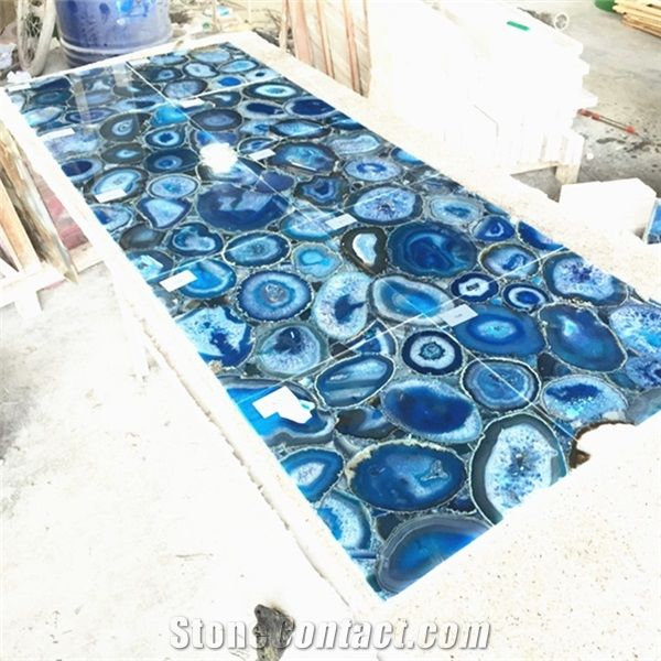 Blue Gemstone Agate Stone Floor Tile Bathroom Wall