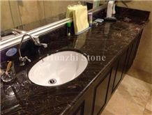 Brown Bookmatched Marble Bath Tops, Countertop, Vanity