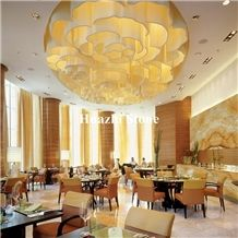 Yellow Color Stone Marble High Quality Shell Golden Marble Wall Pattem