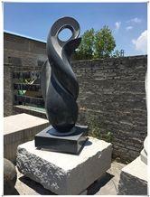 Jet Black Granite Abstract Art Handcarved Landscap Sculpture
