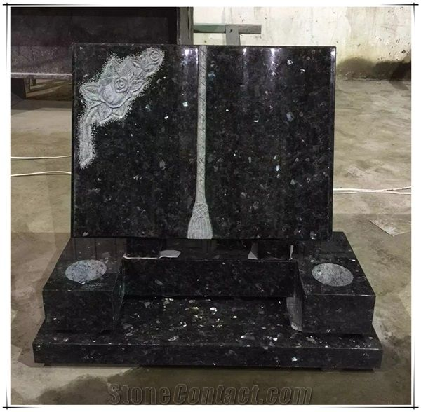 Natural Blue Pearl Granite Book Headstones Tombstones