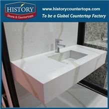 History Factory White Quartz with Grey Veins Vanity Tops for Hotel and Residence