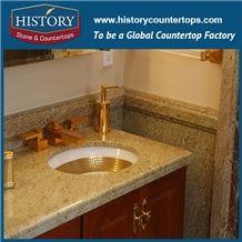 Kashmir Golden Granite Bathroom Countertops Hotel Bathroom Vanity Base