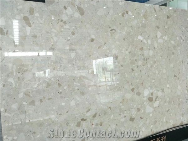 Light Beige Artificial Marble Stonesquartz Floor Tilespolished