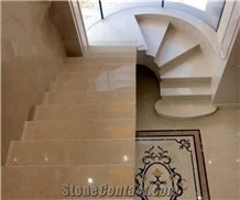 Ottoman Beige Marble Staircase,Luxury Steps, Hotel Indoor Stair Decor