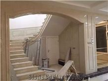 Ottoman Beige Marble Steps,Polished Marble Stair with Anti Slip