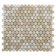 Crema Marfil White Penny Round Mosaic