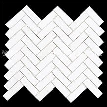 Thassos Herringbone Marble Mosaic Tile for Wall and Floor Covering