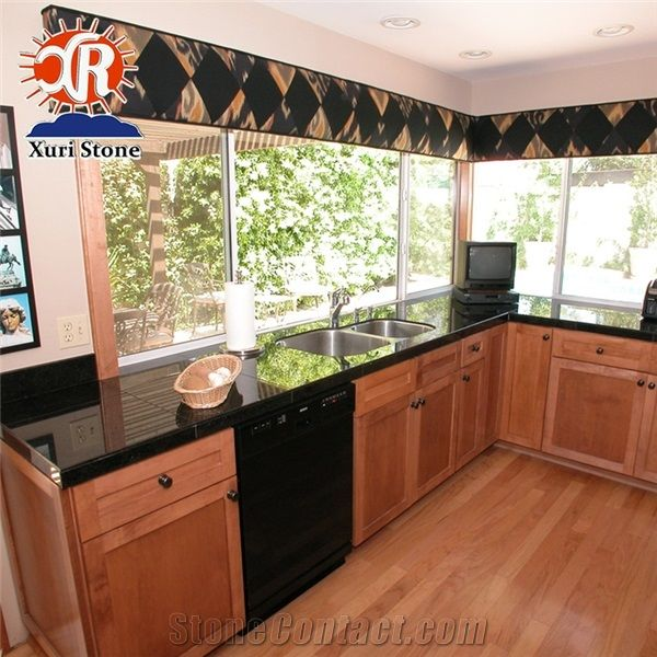 Hot Sale Black Galaxy Granite Work Top Countertop Cheap Price