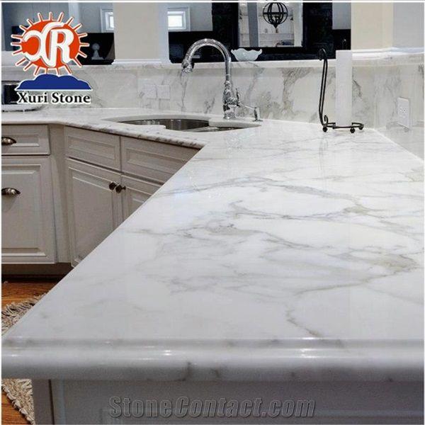 Ltaly Calacatta White Marble Kitchen Countertops Island Tops