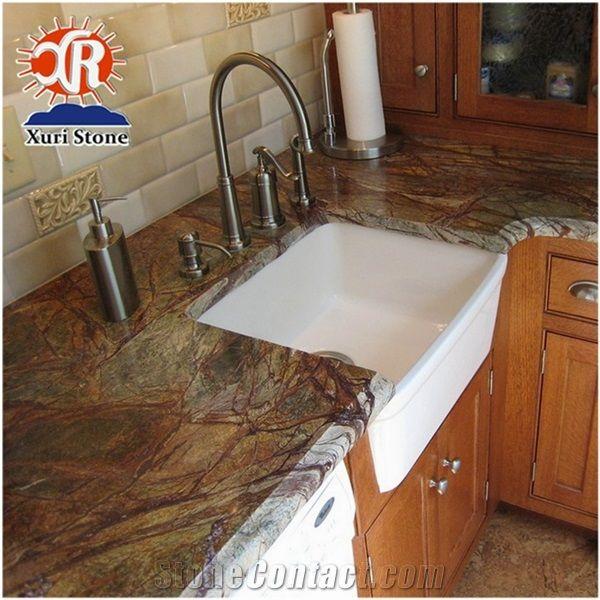 Excellent Prefab Rainforest Green Marble Kitchen Countertops Price Interior Design Ideas Gentotryabchikinfo
