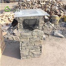 Greyish-Green Slate Letter Blox Column Blox Stone Post Gate Pillar