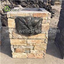 Yellow Slate Letter Blox Column Blox Stone Post Gate Pillar