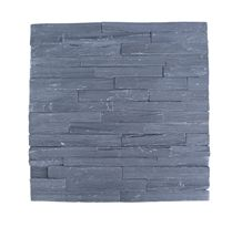 China Black Quartzite Stacked Stone Veneer Feature Wall Cladding Stone