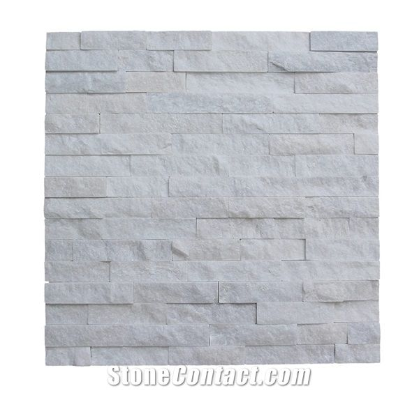 White Quartzite Wall Cladding Culture Stone Stacked Tile