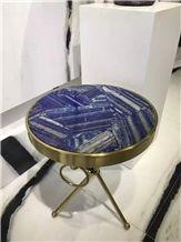 Blue Lapis Lazuli Semi Precious Round Stone Talbe Tops, Table Sets