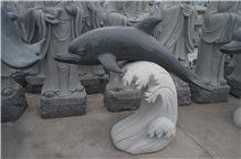 China Manufacture Padang Dark Grey Grainte G654 Dolphin Animal Carving