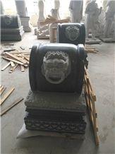 China Manufacture Padang Dark Grey Granite G654 Lion Carving