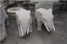 China Manufacture Pink Granite G681 Elephant Animal Carving Sculpture