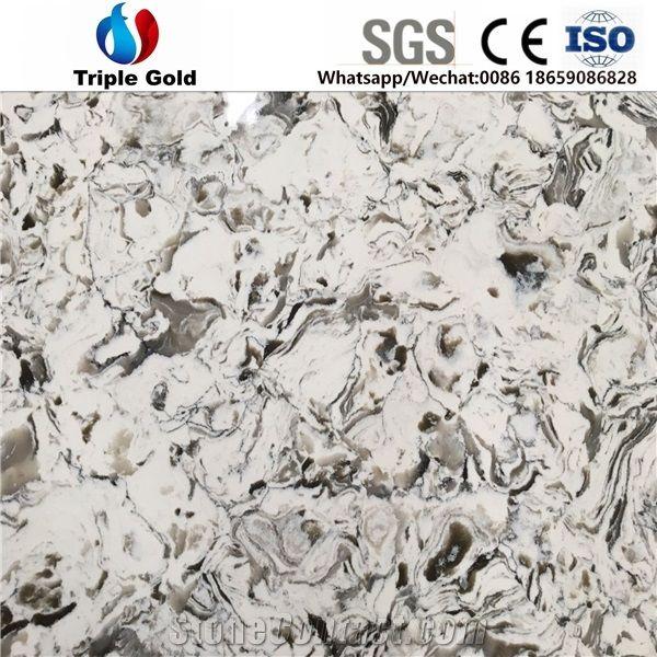 Oyster White Granite Slab: Artificial Crystal Oyster White Grey Granite Quartz Big