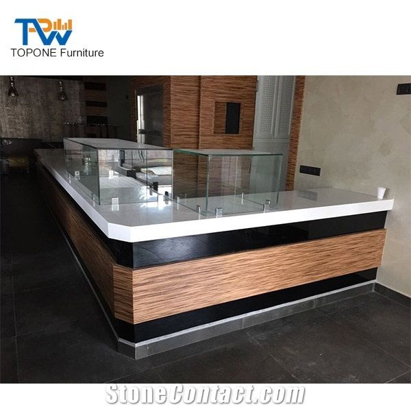 Modern Wooden Restaurant Stone Bar Counter Tops With Glass