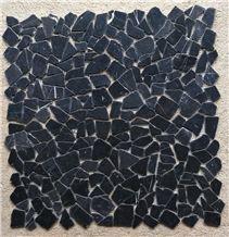 Nero Marquina Marble Tumble Finished Mosaic , Black Marble Mosaic