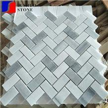 Cheap Stock Carrara White Marble Mosaic Design with Backsplash Tiles