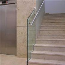 Jura Beige Limestone Floor Stepping Staircase,Cream Sea Coral Stone Risers Villia Interior