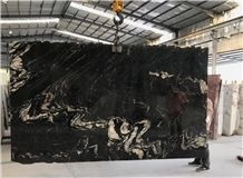 Titanium Black Swan Granite Brazil Slab,Machine Cutting Nero Gold Panel Tiles Hotel Floor
