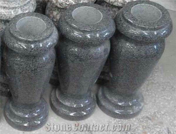 G654 Dark Grey Granite Cemetery Flower Vase From China