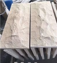 Tippy Beige Limestone Mushroom Stone, Beige Marble Mushroom Wall Cladding
