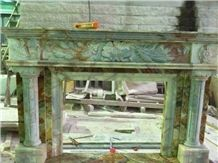 Green Onyx Carved Fireplace Cover,Customized Hand Carved