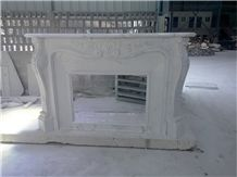 Simple White Fireplace/White Marble Fireplace Mantel Handcarved Flower