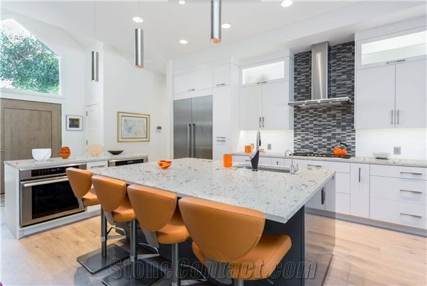 Best Quality Iced White Quartz Engineered Stone Countertops From