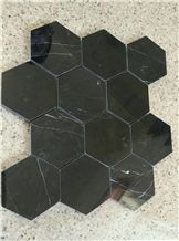 Black Nero Marquina Hexagon Mosaic Tiles