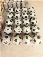 Black White Round Stone Ball Customized Granite Football Vase Carving