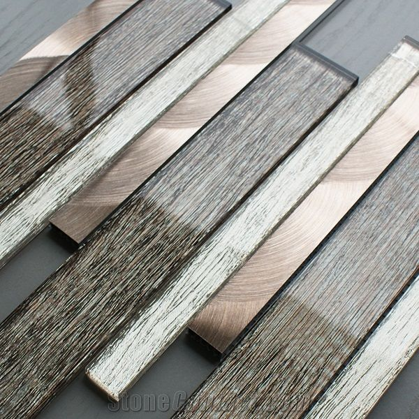Brown Glass Linear Strips Mosaic Wall Tile For Kitchen Bathroom From China Stonecontact Com