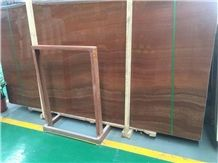 Chinese Red Wooden Grain Red Polished Red Marble Panels Marble Slabs