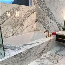 Italian Arabescato Corchia White Marble Kitchen Countertop