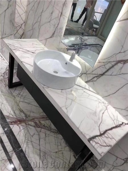 Lilac White Marble Black Grey Vein Marble Slab for Bathroom Countertop