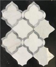 Oriental White Carrara White Marble Mosaic Art
