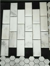 Polished Honed Italian Carrara Marble 2x4 Subway Mosaic Tile