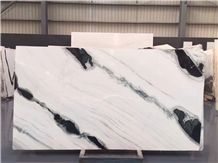 Polished Panda White Marble Big Slab for Floor / Wall Tiles