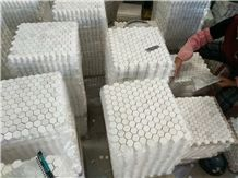Small Carrara White Marble Hexagon Mosaic Tiles